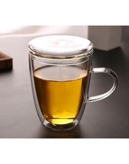 350ml附蓋雙層隔熱玻璃杯