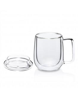 350ml附蓋把手雙層玻璃杯