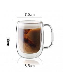 雙層玻璃杯附蓋350ml