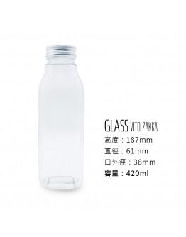 鋁蓋420ml透明玻璃方瓶