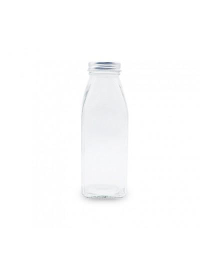 鋁蓋350ml透明玻璃方瓶