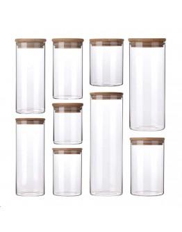 竹蓋直筒高硼硅密封玻璃罐