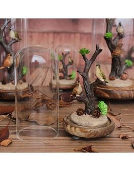 復古樹樁小鳥玻璃罩