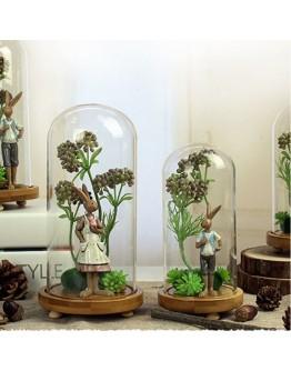 永生花玻璃罩森林系萌兔子擺件