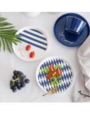北歐風格藍金陶瓷餐盤