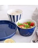 北歐風格藍金陶瓷餐碗