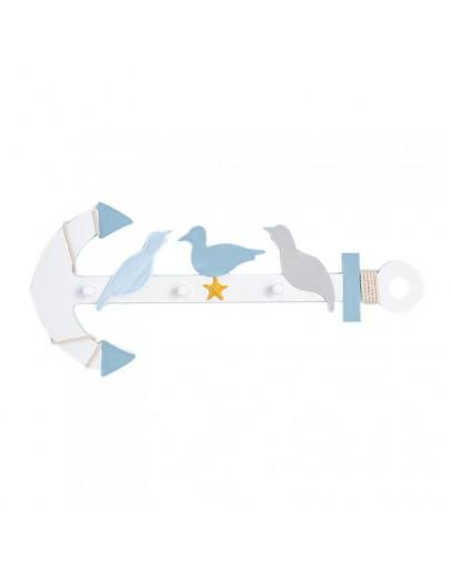 地中海創意木製藍白鐵錨掛鉤