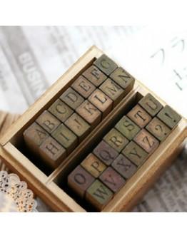 復古英文數字木盒印章
