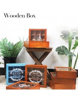 木製仿古桌面收納盒