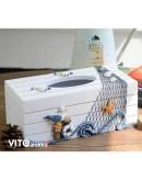 地中海風格木製抽取式面紙盒