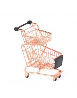 雙層迷你購物車小推車-玫瑰金