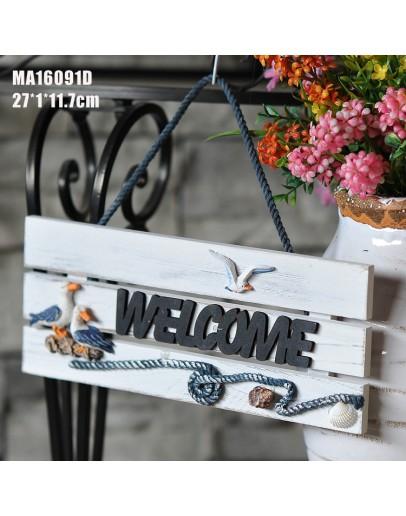 地中海風格木製歡迎牌-海鷗