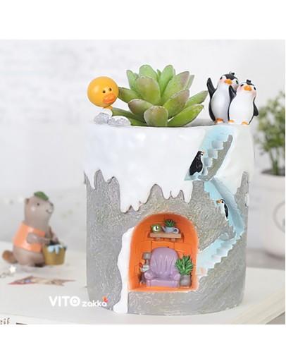 冰雪企鵝暖居造型花盆