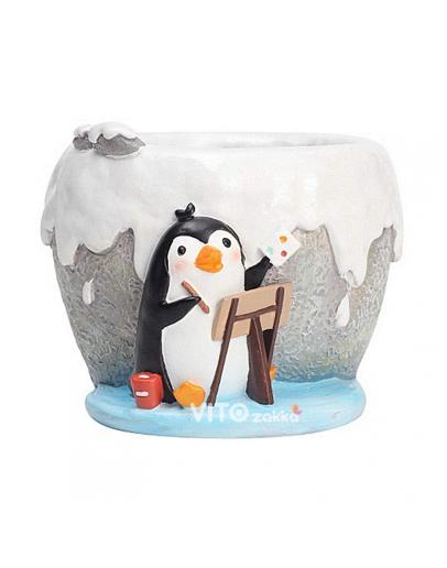 冰雪企鵝寫生造型花盆
