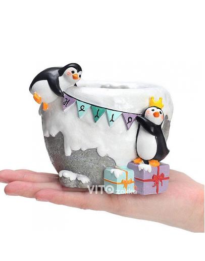 冰雪企鵝派對造型花盆