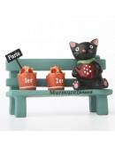 長凳黑貓澆花微景觀創意花插