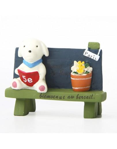 長凳看書小狗微景觀創意花插