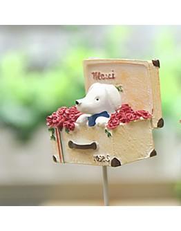 玫瑰花盒小狗微景花插