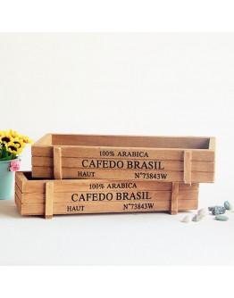 復古仿舊木質花盆收納盒