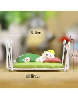 床上睡覺小狗微景觀創意花插