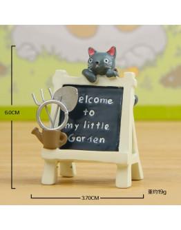 黑貓趴廣告牌微景觀創意花插