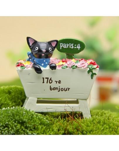黑貓玫瑰花園微景花插